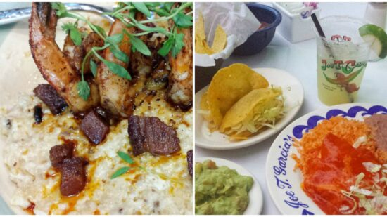 shrimp and grits and tacos