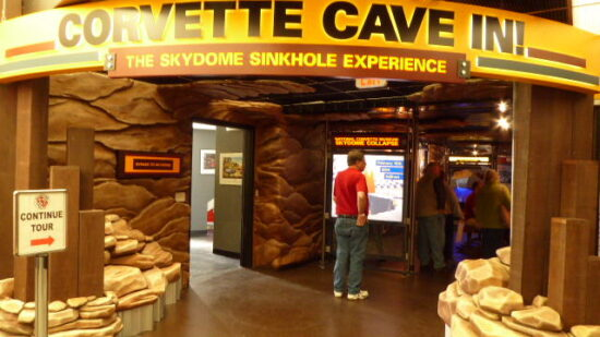 Entrance to the Corvette Cave In Exhibit at the National Corvette Museum.