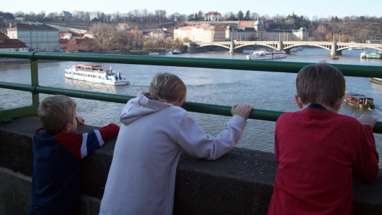 at the river from the Charles Bridge in Prague