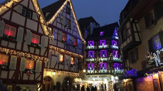 Towns in France light up with Christmas decorations and outdoor Christmas Markets
