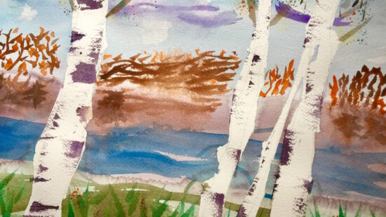 Iconic Northwoods of Wisconsin birch trees inspires budding artists.