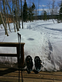 Step off your cabin deck into your snowshoes at Latigo Ranch, Colorado