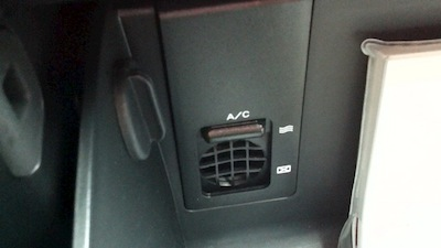 AC vent in the Kia glove box
