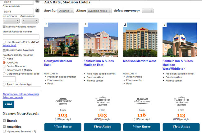 Madison WI With AAA Rates