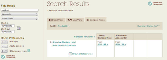 Sheraton both AAA without rates