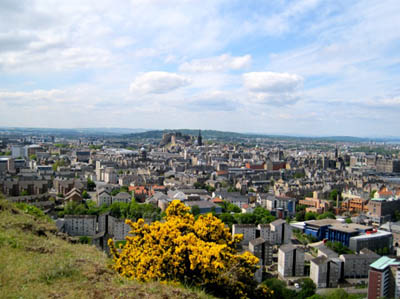View of Edinburgh from Arthur's Seat, Holyrood Park -about a mile east of Edinburgh Castle, a 12th century Scottish fortress (at the center of this photo).