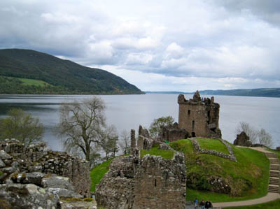 View of Loch Ness from Grant Tower, Urquhart Castle - one of the largest strongholds of medieval Scotland, located between Fort William and Inverness