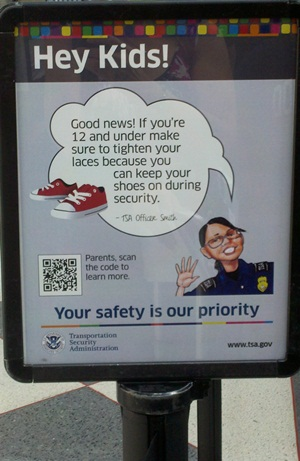 Airport security kid sign