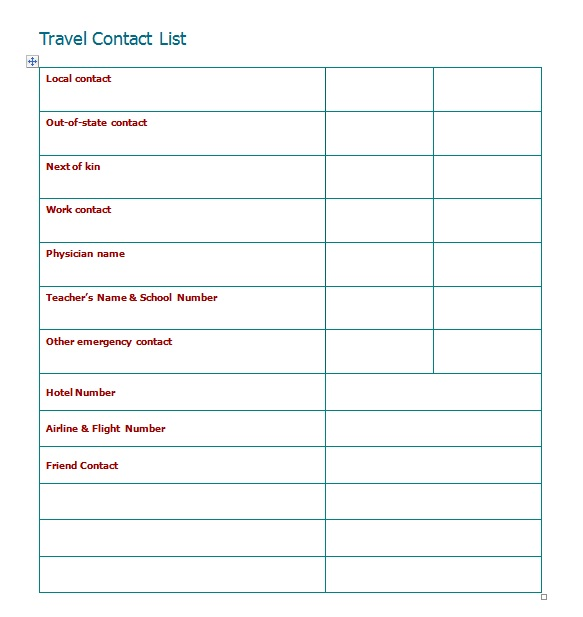 contactlistfortravel